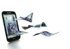 3D übertragenes taiwanesisches Geld gekippt und auf weißem Hintergrund lokalisiert Lizenzfreie Stockfotografie