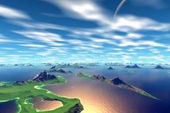 3d übertrug Fantasieausländerplaneten Stockfoto