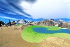 3d übertrug Fantasieausländerplaneten Stockbilder