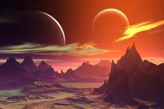 3d übertrug Fantasieausländerplaneten Felsen und Mond Lizenzfreies Stockfoto