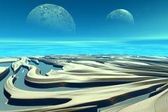 3d übertrug Fantasieausländerplaneten Felsen und Mond Stockfotos