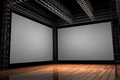 3D übertrug Illustration eines hölzernen Stadiums mit dem Bündeln und zwei großen leeren Bildschirmen Stockfotografie