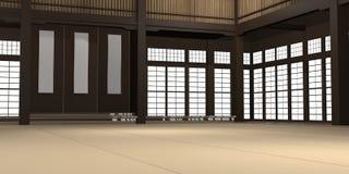 3d übertrug Illustration eines traditionellen Karatedojo oder -schule mit Trainingsmatten- und -reispapierfenstern stock abbildung
