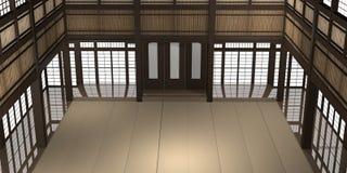 3d übertrug Illustration eines traditionellen Karatedojo oder -schule mit Trainingsmatten- und -reispapierfenstern lizenzfreies stockfoto