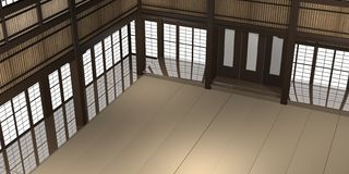 3d übertrug Illustration eines traditionellen Karatedojo oder -schule mit Trainingsmatten- und -reispapierfenstern stockbilder