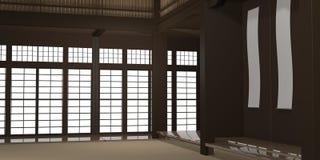 3d übertrug Illustration eines traditionellen Karatedojo oder -schule mit Trainingsmatten- und -reispapierfenstern lizenzfreie stockbilder