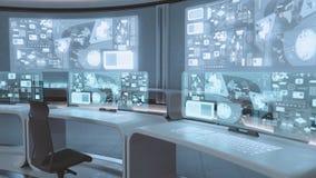3D übertrug leerer, moderner, futuristischer Kommandozentraleinnenraum stock abbildung