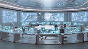 3D übertrug leerer, moderner, futuristischer Kommandozentraleinnenraum lizenzfreie stockfotografie