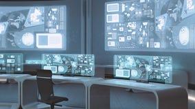 3D übertrug leerer, moderner, futuristischer Kommandozentraleinnenraum vektor abbildung