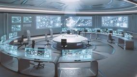 3D übertrug leerer, moderner, futuristischer Kommandozentraleinnenraum stockfotos
