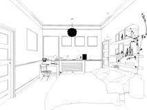 3D übertrug weißes minimales Schlafzimmer-Innenarchitektur Lizenzfreie Stockfotografie