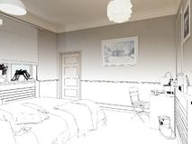 3D übertrug weißes minimales Schlafzimmer-Innenarchitektur Lizenzfreies Stockfoto