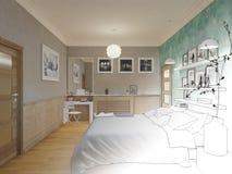 3D übertrug weißes minimales Schlafzimmer-Innenarchitektur Stockbilder