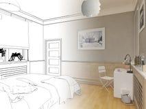 3D übertrug weißes minimales Schlafzimmer-Innenarchitektur Stockfoto