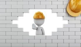 3d Łamający ściana z cegieł z białymi ludźmi Fotografia Royalty Free