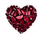 3d łamający krystaliczny serce obrazy stock