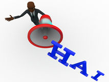 3d łysej głowy mężczyzna mówienie w głośnego mówcy HAI pojęciu Zdjęcia Stock