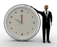 3d łysej głowy mężczyzna pozycja z dużym zegarem Fotografia Royalty Free