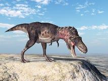 3d ścinku dinosaur nad ścieżki renderingu cienia tarbosaurus biel Zdjęcie Stock