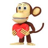 3d śmieszna małpa z czerwonym sercem Zdjęcie Stock