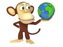 3d śmieszna małpa z ziemską kulą ziemską Obraz Royalty Free