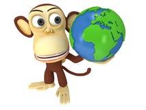 3d śmieszna małpa z ziemską kulą ziemską Zdjęcie Royalty Free