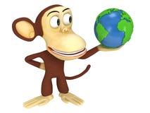 3d śmieszna małpa z ziemską kulą ziemską Obraz Stock