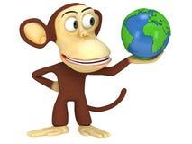 3d śmieszna małpa z ziemską kulą ziemską Obrazy Royalty Free