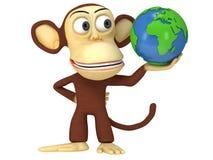 3d śmieszna małpa z ziemską kulą ziemską Obrazy Stock