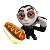 3d Śmiesznej kreskówki Dracula wampira Halloweenowy charakter je hot dog przekąskę ilustracji