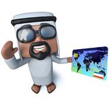 3d Śmiesznej kreskówki sheik arabski charakter trzyma kartę debetową Zdjęcia Royalty Free