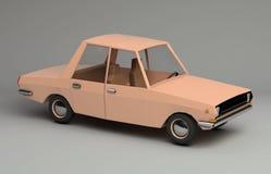 3d śmieszny retro projektujący pomarańczowy samochód Zdjęcia Stock