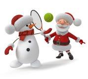 3d Święty Mikołaj bawić się tenisa Zdjęcia Stock