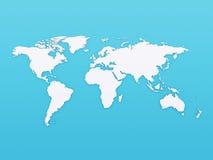 3D światowa mapa na błękitnym tle Obrazy Stock