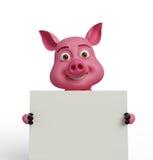 3D świnia z białą deską Fotografia Stock