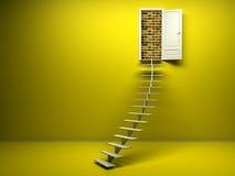 3d żółty pokój z rozpieczętowanym drzwi Ściana z cegieł Fotografia Royalty Free