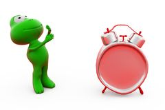 3d żaby budzika pojęcie Obrazy Stock