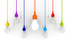 3D żarówki różnicy kolorowy pojęcie na białym tle Zdjęcie Stock