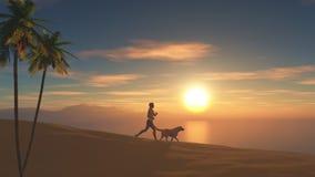 3D żeński jogging na plaży przy zmierzchem z jej psem Zdjęcie Royalty Free