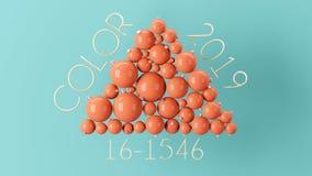 3D Żywa Koralowa ilustracja z wiele boże narodzenie piłkami fotografia royalty free