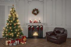 3d - διαμέρισμα πολυτέλειας - Χριστούγεννα Στοκ Εικόνες