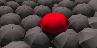 3d - κόκκινη ομπρέλα μεταξύ πολλών μαύρων ομπρελών στοκ εικόνες με δικαίωμα ελεύθερης χρήσης