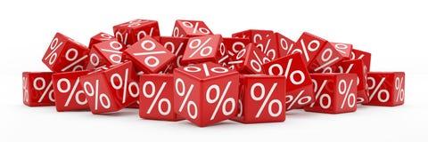 3d - κύβοι τοις εκατό - κόκκινο απεικόνιση αποθεμάτων