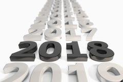 3d - νέα έννοια υπόδειξης ως προς το χρόνο έτους 2018 - ο Μαύρος Στοκ Εικόνες