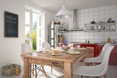 3d - σύγχρονο εσωτερικό κουζινών Στοκ Εικόνες