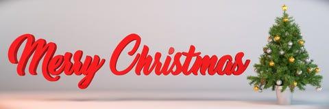 3d - χριστουγεννιάτικο δέντρο - χριστουγεννιάτικα δώρα - πανόραμα Στοκ φωτογραφία με δικαίωμα ελεύθερης χρήσης