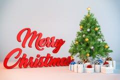 3d - χριστουγεννιάτικο δέντρο - χριστουγεννιάτικα δώρα Στοκ Εικόνες