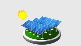 3D анимация группы в составе панели солнечных батарей следовать путем солнца с белой предпосылкой - возобновляющей энергией сток-видео
