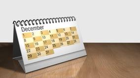 3D анимация настольного календаря на деревянном столе с белой предпосылкой Каждый лист содержит месяц сток-видео