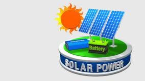 3D анимация оборудования солнечной энергии состоя из 3 панелей солнечных батарей, инвертора и батареи поворачивая 360 градусов акции видеоматериалы